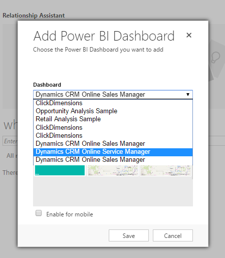 Display Power BI Visualizations in Dynamics 365 Dashboards