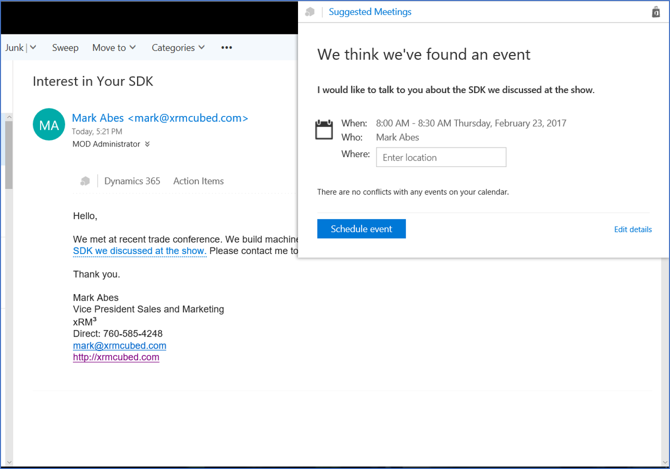 Dynamics 365 Office 365 Relationship Insights 3