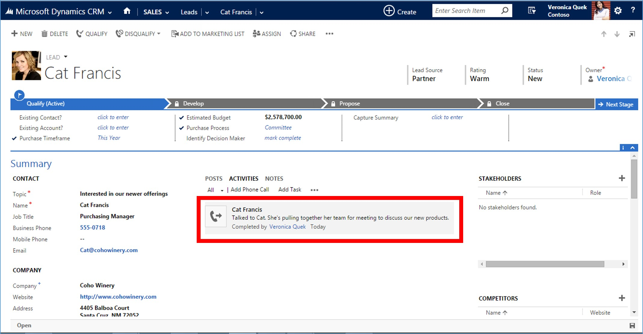 Microsoft Dynamics CRM Closed Call Record