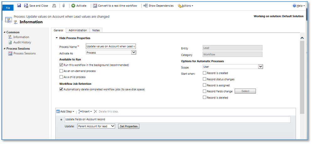 Defining the Proper Scope When Configuring Workflows in Dynamics CRM